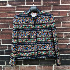 Vintage Silk Maggy London Ethnic-Pattern Blazer